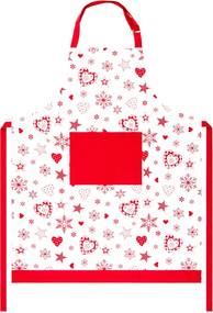 Forbyt Vianočná zástera Vločka a srdce červená, 70 x 90 cm