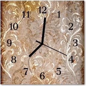 Sklenené hodiny štvorcové  kvetinový vzor