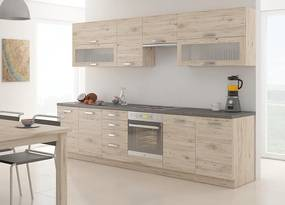 Priama kuchynská linka FALCON 260 cm dub bordeaux - Borovice bílá - 28 mm
