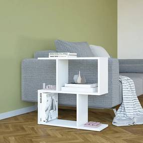 Biely odkladací stolík Mark, výška 60 cm