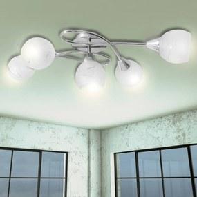 vidaXL Stropná lampa so sklenenými tienidlami na 5 žiaroviek E14