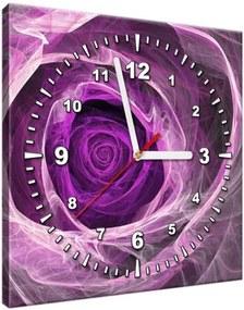 Obraz s hodinami Fialová ruža fraktál 30x30cm ZP1482A_1AI