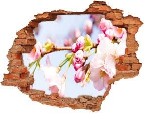 Samolepiaca diera na stenu Kvety višne WallHole-cegla-90x70-81280422