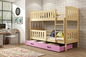 Poschodová posteľ KUBO - 200x90cm - Borovica - Zelená