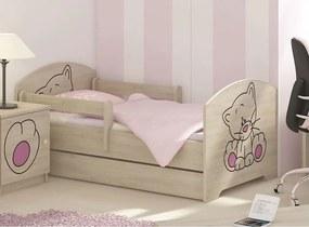 MAXMAX Detská posteľ s výrezom MAČIČKA - ružová 160x80 cm + matrac ZADARMO!