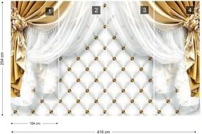 Fototapeta GLIX - Golden Curtains Luxury Effect 2 + lepidlo ZADARMO Vliesová tapeta  - 416x254 cm