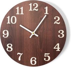 DomTextilu Elegantné nástenné hodiny hnedej farby 24626