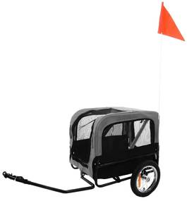 FLAMINGO Vozík na bicykel pre psa Romero šedý 59,5x43x51 cm