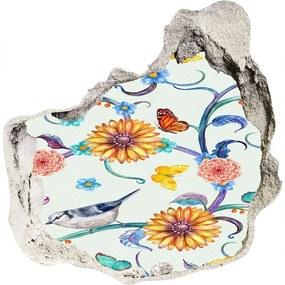 Diera 3D fototapety nálepka Kvety a vtáky WallHole-75x75-piask-126223306