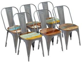 Jedálenské stoličky, 6 ks, masívne recyklované drevo, 47x52x89 cm (3x243724)