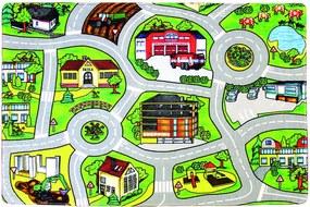 Protiskluzový kusový koberec Silnice - 110x160 cm