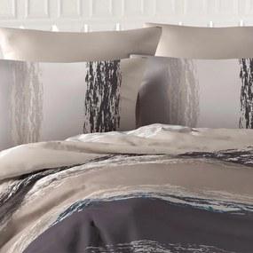 Bavlnené posteľné obliečky THICK LINE hnedé predĺžená dĺžka