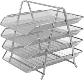 Drôtený stojan s 4 listovými zásuvkami, strieborný