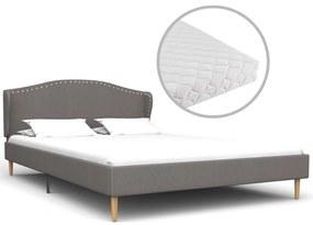 vidaXL Posteľ s matracom, svetlosivá, látka 140x200 cm