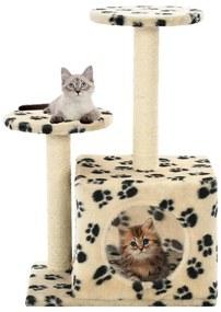 vidaXL Škrabadlo pre mačky, sisalové stĺpiky 60 cm, béžové s labkami