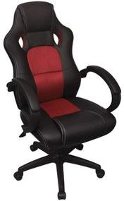 Riaditeľské kancelárske kreslo v závodnom štýle, červené