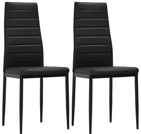 241496 vidaXL Čierne kuchynské stoličky s úzkymi líniami 2 ks