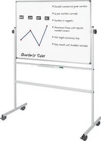 Mobilná otočná obojstranná magnetická tabuľa, 1200 x 900 mm