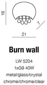 Krištáľové svietidlo AZZARDO BURN wall chróm AZ0911