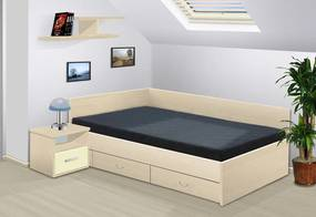 posteľ s úložným priestorom Renata 120x200 cm lamino: buk, boční čela: bez bočních čel