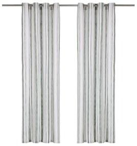 vidaXL Závesy s kovovými očkami 2 ks bavlna 140x175 cm zelené prúžky