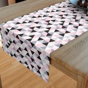 Goldea bavlnený behúň na stôl - vzor ružové a sivé trojuholníky 20x120 cm