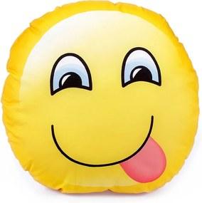 Goldea detský vankúšik - vzor smajlík s vypláznutým jazykom 32 x 32 cm