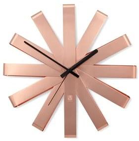 Nástenné hodiny RIBBON 30,5 cm medené, Umbra, Nerezová oceľ, 30,5 priemer x 5,7 cm, medená, čierna