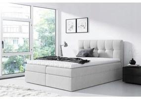 Jednoduchá posteľ Rex 200x200, svetlo šedá + TOPPER