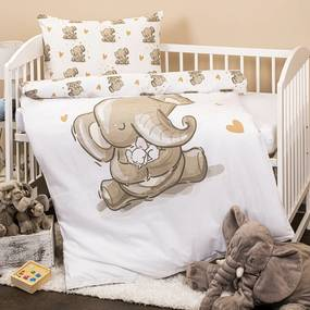 4Home Detské bavlnené obliečky do postieľky Sloníky, 100 x 135 cm, 40 x 60 cm