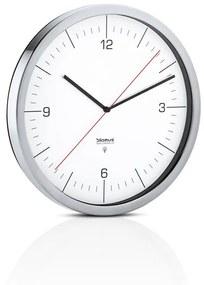 Nástenné hodiny riadené rádiovým signálom CRONO P:30,5 cm H:4,5 cm z nerezu, skla a plastu v matnej nerezovej a bielej farbe, Blomus, Nerezová oceľ, sklo, plast, P: 30,5 cm H: 4,5 cm, matná nerezová, biela