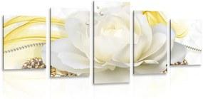 5-dielny obraz luxusná ruža s abstrakciou