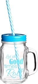 Pohár s modrým viečkom a slamkou Premier Housewares Good Times, 450 ml