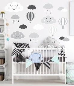 Dekorácia na stenu - mráčky a balóny - šedo-biela