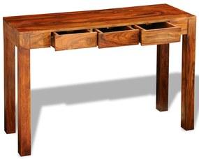 vidaXL Konzolový stolík s 3 zásuvkami 80 cm, drevený masív sheesham