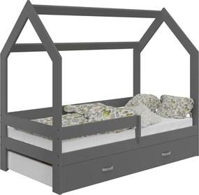 AMI nábytok Detská posteľ DOMČEK D3 80x160cm masív šedá