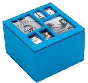 Drevená šperkovnica Umbra Multi Photo Box - modrá