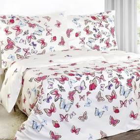 Goldea luxusné obliečky z bavlneného saténu - vzor 761 motýle na svetle béžovom 240 x 200 a 2ks 70 x 90 cm
