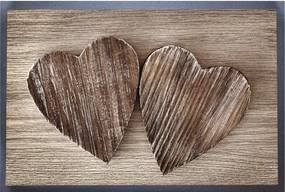 Rohožka 40x60 cm, motív drevené srdce