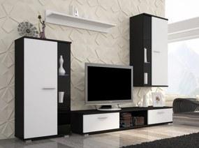 SAFIR obývacia stena ADRK čierny korpus + dvierka biely mat
