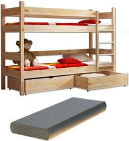 MJ Poschodová postel z masívu Paula 2 200x90 Grafit
