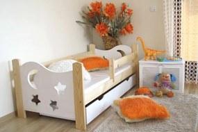 Detská posteľ SEVERYN + rošt ZADARMO, s úložným priestorom, borovica/biela, 70x160cm
