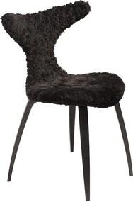 Čierna stolička s kožušinovým sedákom DAN-FORM Denmark Dolphin