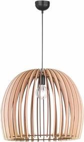 Béžové závesné svietidlo z dreva a kovu Trio Wood, výška 150 cm