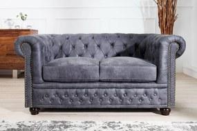 Dvojsedačka Chesterfield Vintage sivá