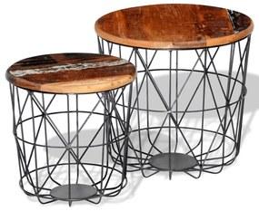 Konferenčný stolík 2 ks, okrúhly 35 cm/45 cm, recyklovaný masív