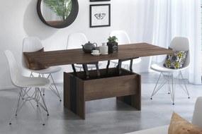 Mazzoni SOLO hnedý dub / čierna, rozkladací, zdvíhací, konferenčný stolík