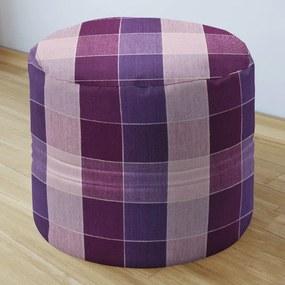 Goldea bavlnený sedacie bobek 50x40cm - kanafas - vzor veľké fialové kocky 50 x 40 cm