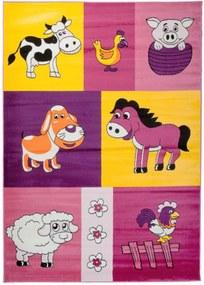 Detský kusový koberec Zvieratá z farmy fialový, Velikosti 80x150cm