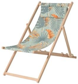 Madison Drevená plážová stolička Dotan modrá a oranžová